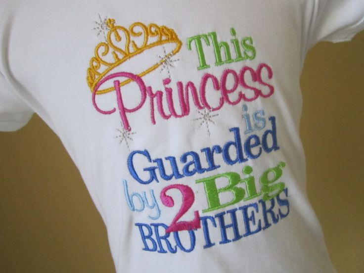 This Princess is Guarded by 2 Big Brothers Embroidered Shirt or Onesie- Princess Shirt- Little Sister Shirt- Sibling Shirt- Photo Prop. $17.00, via Etsy.