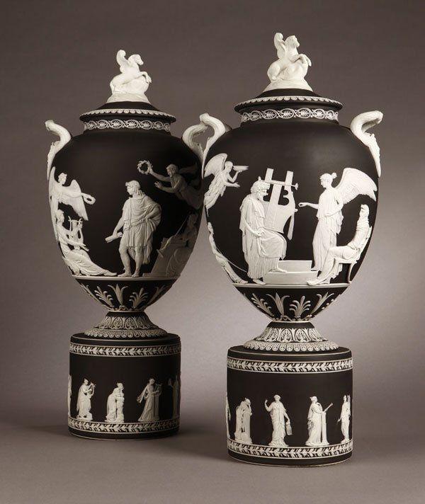 1107 Pr Wedgwood Black Amp White Jasperware Pegasus Vase Lot 1107 Pandora S Jars Wedgwood