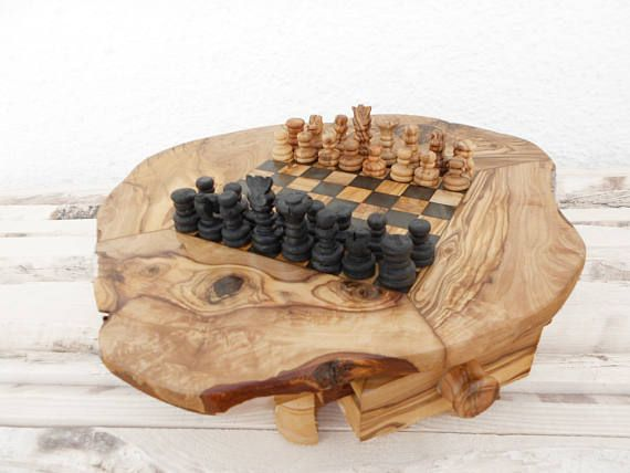 Fathers Day Gift / Dad Gift Rustic Wooden Chess Board Set