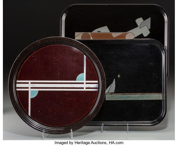 Decorative Arts, American, Three George Switzer Machine Age Micarta Trays for Westinghouse,circa 1932. Marks: W, MICARTA. 17-3/4 l x 13-3/4 w inch...(Total: 3 Items)
