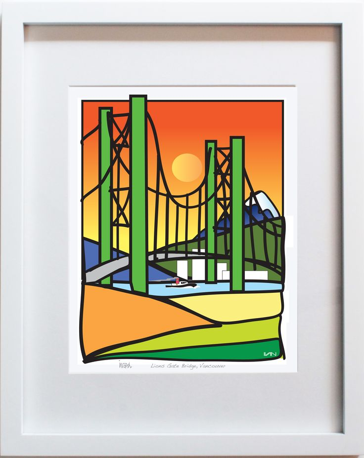 Lions Gate Bridge in Vancouver, BC with Orange Background. Also available in a smaller 8x10in white frame and with a pink background on our website.