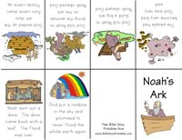 Free Printable Bible Story Minibooks - Creation, Adam and Eve, The Lord's Prayer, Noah's Ark, The Parable of the Sower and more! Available in color or B for the kids to color.