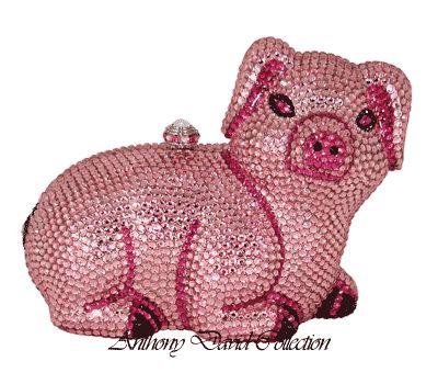 Anthony David Handbag Evening Bag Purse With Swarovski Crystals AD93 Pink Pig
