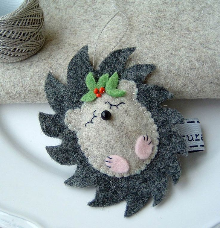 Felt Hedgie with Christmas adornment.