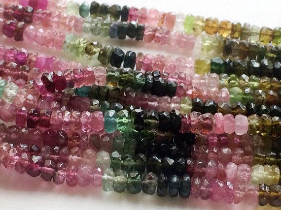 Multi Tourmaline Faceted Rondelle Beads Multi by gemsforjewels