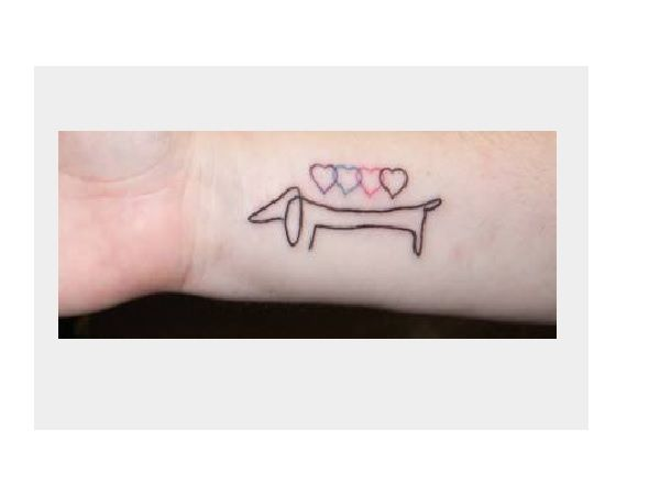 Dachshund Tattoo Inner Wrist Tattoo with Four Colored Hearts