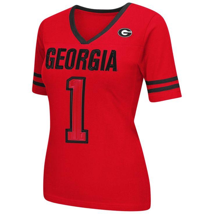Georgia Bulldogs Women's Red Disco V-Neck T-Shirt
