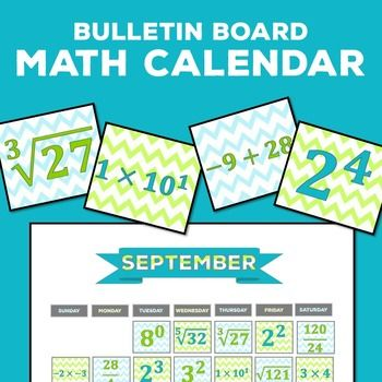A Mathematical Calendar is perfect for a middle school or high school math classroom. Each day is represented by a mathematical expression.
