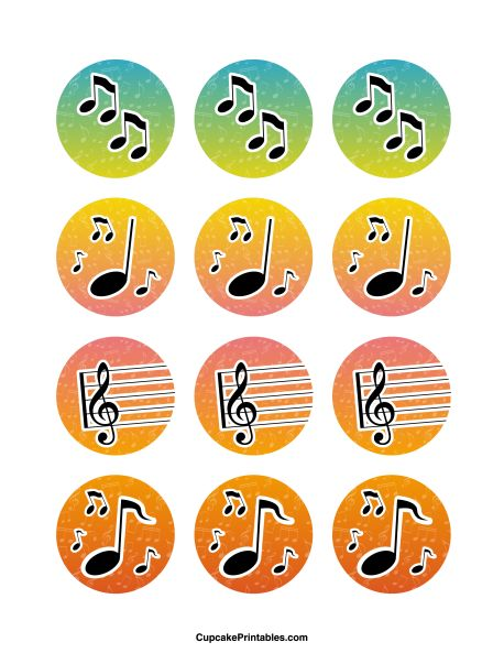 Music cupcake toppers. Use the circles for cupcakes, party favor tags, and more. Free printable PDF download at http://cupcakeprintables.com/toppers/music-cupcake-toppers/