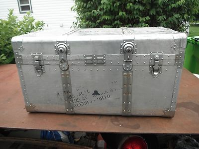 Vintage Kowa Aluminum Riveted Trunk Coffee Table Airstream Chest Toledo Ohio Trunk Coffee