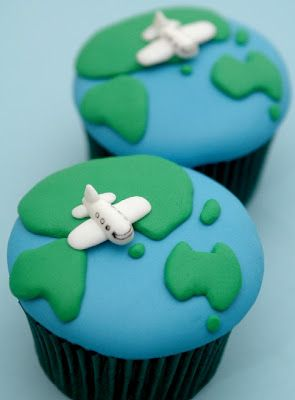 Earth Cupcakes for Airplane / Travel Theme Party. Also super cute for Earth Day... without the airplanes.