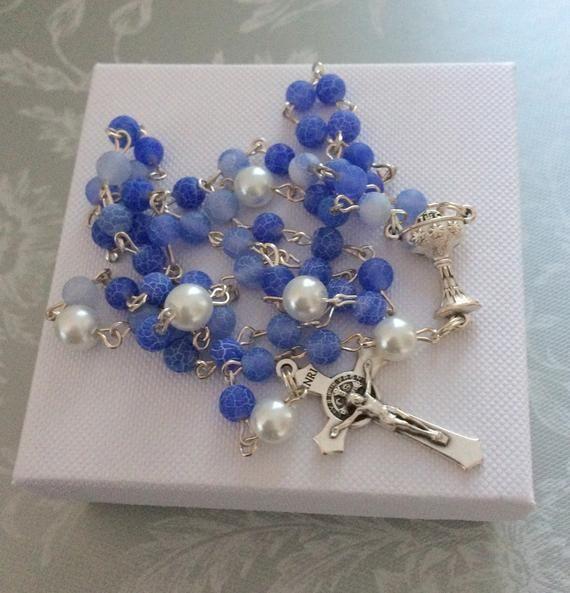 First Communion Rosary, Blue Rosary, Christening Gift, Baptism, Catholic Rosary for Boys, Traditional Rosary, Godson Gift, Godchild Gift