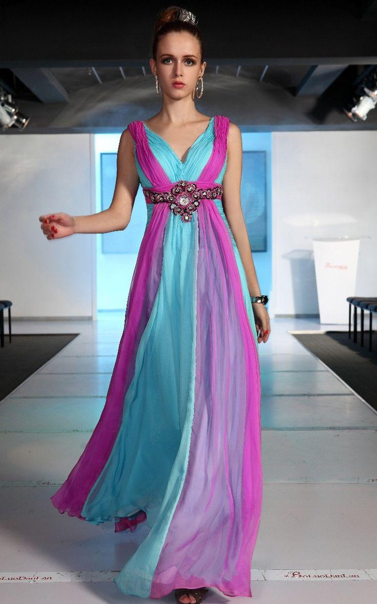 Bridesmaid Ball Cyan+Purple V-neck Chiffon Beadings/Draped Long Evening Dress @Jennifer Childers. L
