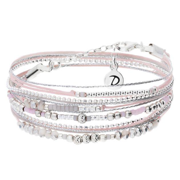 BRACELET INSPIRATION ROSE & GRIS CLAIR - BRACELETS/Bracelets Multi-Tours - DORIANE Bijoux