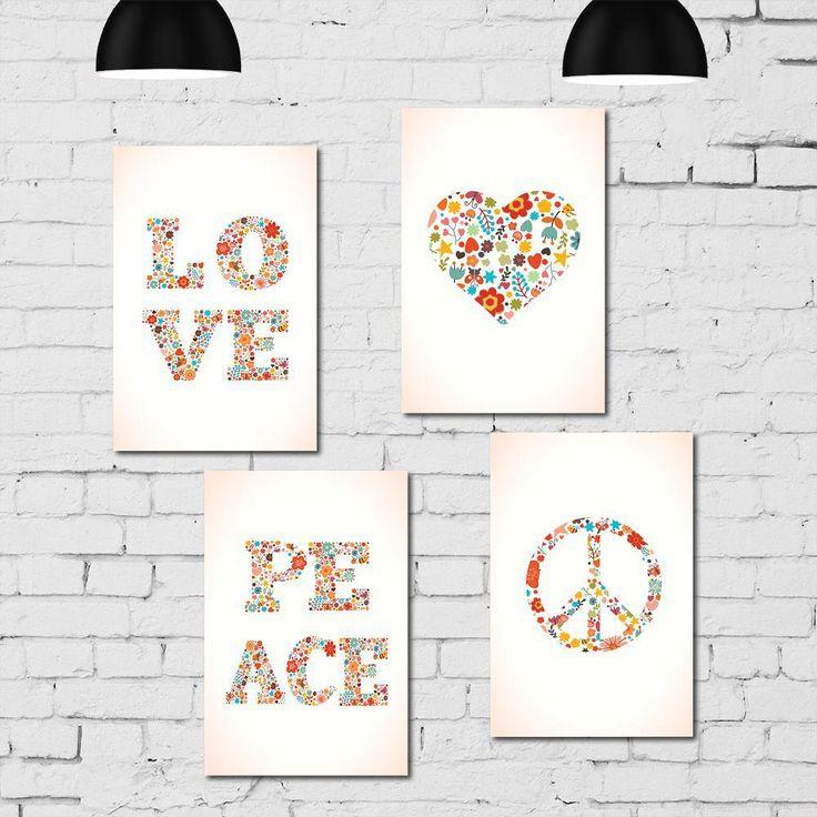 Kit Placa Decorativa Mdf Paz E Amor - 4 - Americanas.com