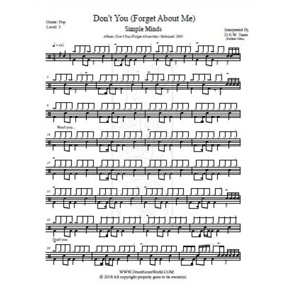 Drum Score Simple Minds Don T You Forget About Me Simple