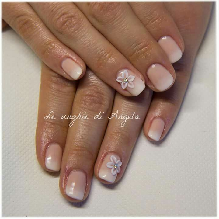 Wedding nails. Gel polish baby boomer with 3D flowers