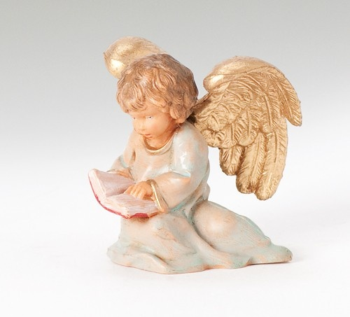 All the angels were in awe of the miracle of Christ's Birth. Each angel had a gift for the Newborn King. The Littlest Angel always knew what her gift would be. Item# 54042. The entire story can be read on the story card accompanying figure. @Fontanini by Roman, Inc.