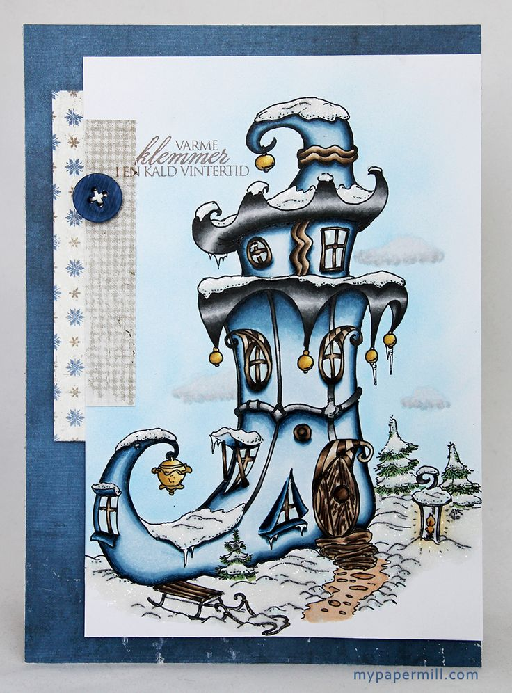 Clean and simple Christmas card. Make It Crafty image colored with Copics. Patterned paper by Maja Design.