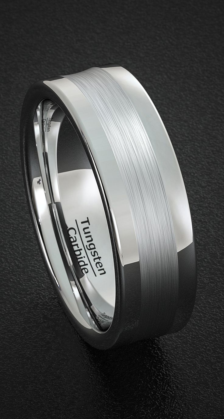Mens Wedding Band Tungsten Ring Polished With Brushed Inlay Round Edge Comfort Fit