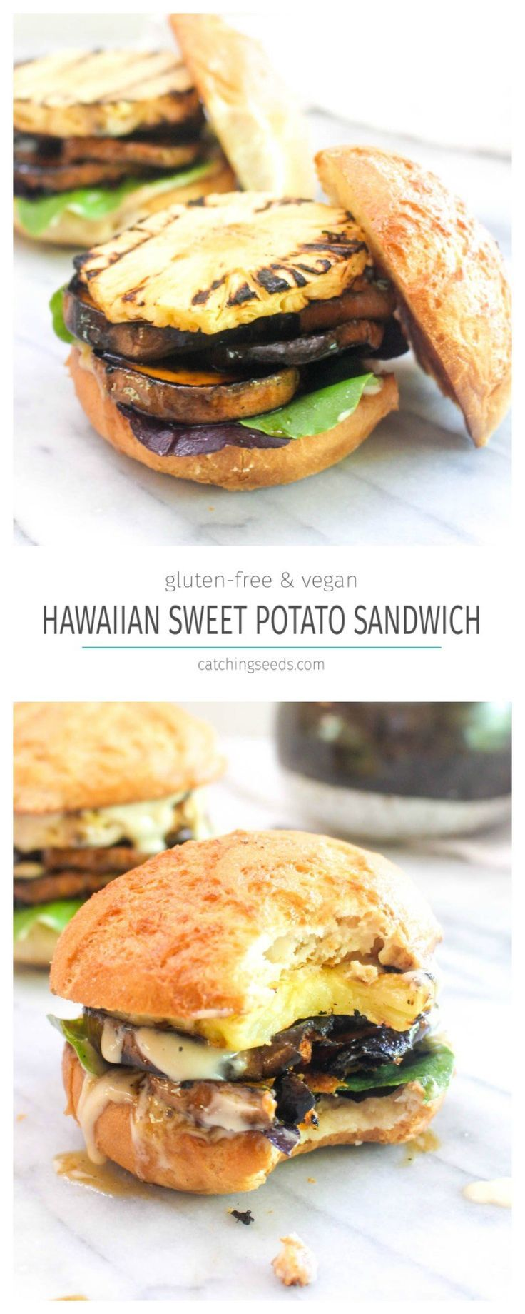 This Hawaiian Sweet Potato Sandwich is a healthy summer barbeque recipe! This vegan sandwich is bursting with flavor thanks to two sauces! | CatchingSeeds.com