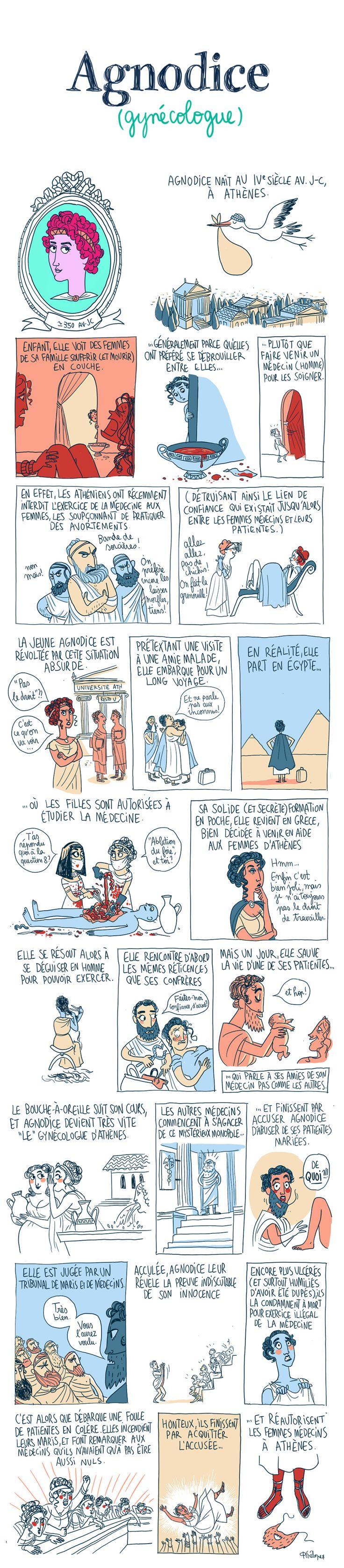 B.D. sur la sage-femme grecque Agnodice. Bien qu'on ignore si elle a réellement existé, son histoire demeure touchante.