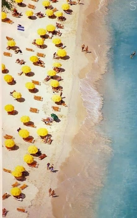 SLIM AARONS, beach, yellow umbrellas, ocean, waves, sand