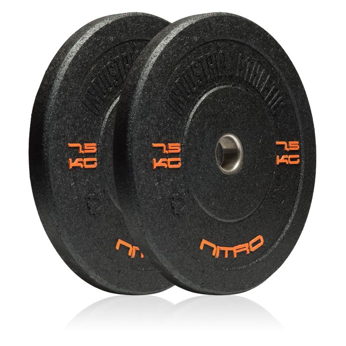 7.5KG Nitro Bumper Plates - Pair. At last, the 7.5kg Plate has arrived.  Built specifically for preservation of your 5kg plates, this is the perfect plate for an awkward jump between 5 and 10kg, or if you need stability in your bar loads.