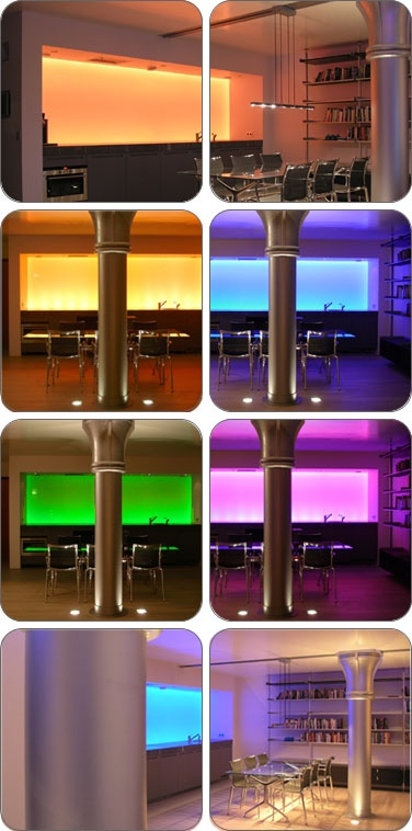 #LED #Lights with multiple, changeable colors, here in a #Kitchen
