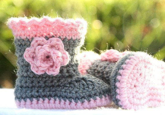 Crochet Baby Boots  Winter Baby Boots  Baby Girl by BabyBLoved, $23.00
