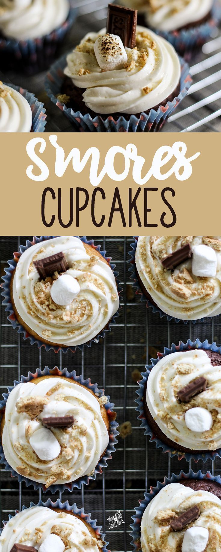 Welcome to Camp Cupcake. This fun and easy Smores Cupcake recipe will be a hit at your next party.     Made with classic s'mores ingredients : graham crackers, marshmallows and milk chocolate. ...how can you go wrong?  You can't!    #smoresrecipes #smores