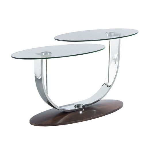 The pivot table by hammary features floating layers of glass orbiting on delicate curved chrome arms around an elegant veneered base with its blend of art