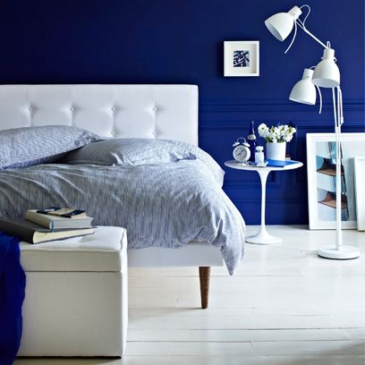 We Love This Midnight Blue Feature Wall With White Gloss Painted Floor Boards Beach House