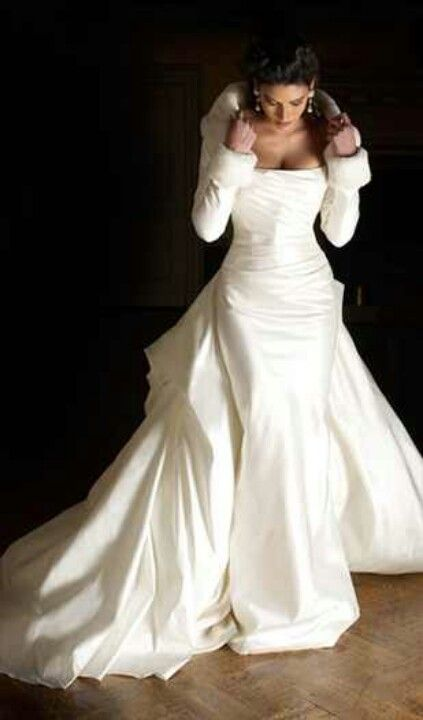 Winter wedding gown with bustle