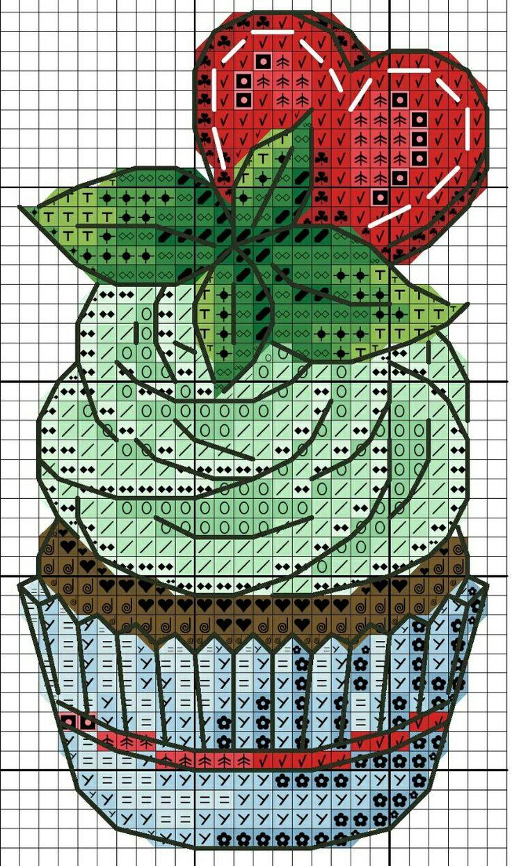 #crossstitch #kanaviçe #kek #yeşil #krema #cupcake #green #crema