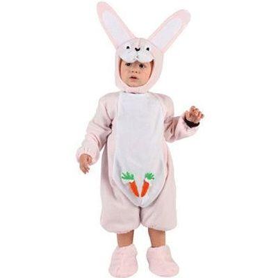 Roze konijn baby kostuum. Babyroze baby kostuums van pluche materiaal. Konijnen overall met slofjes. De leeftijd 0-6 mnd is ca. 67 cm lang en de leeftijd 6-12 maanden is ca. 71 cm.