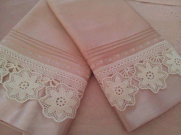 Beyaz motifli dantel çarşaf kenarı | Örgü Modelleri - Örgü Dantel Modelleri
