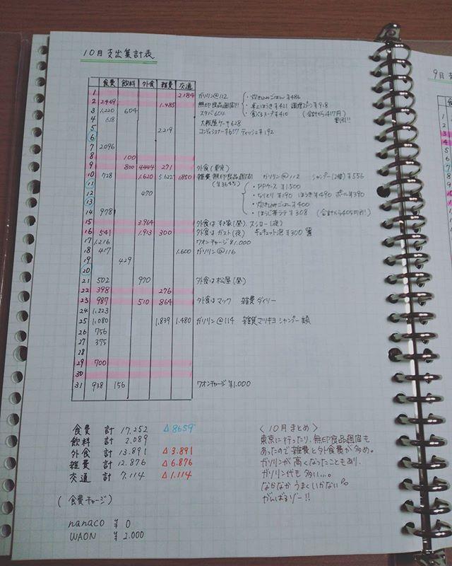 やーっと家計簿つける時間作れた! 10月の支出集計表完成! しかし!書くところを間違えてファイルの中がぐちゃぐちゃ… 時間ある時にコピーして新しいルーズリーフに貼って整理します(´・д・`) #づんの家計簿 #ゆちこねこ家計簿 #家計簿 #支出集計表まとめ #ふたりの家計簿