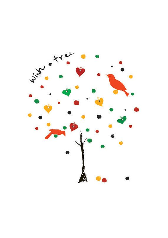 Wish Tree Art Print - Illustration Animal Birds Dreams come true Children decor, Kids Room, Wedding Birthday Anniversary Gifts