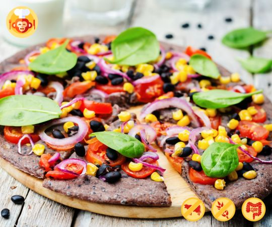 Purple, gluten-free pizza with black bean crust and vegetables.  #pizza #food #foodporn #foodmonkeys #best #recipe #ideas #baking #yummy #delicious #fit #healthy #lowcalorie #glutenfree #improvesdigestionandbowelfunction #corn #tomatoes #basil #beans #recipe #newyearseve #newyear #party #crust