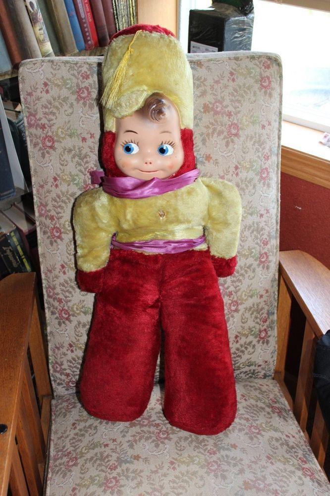 "vintage plush 28""  marching band rubber face rushton? doll"