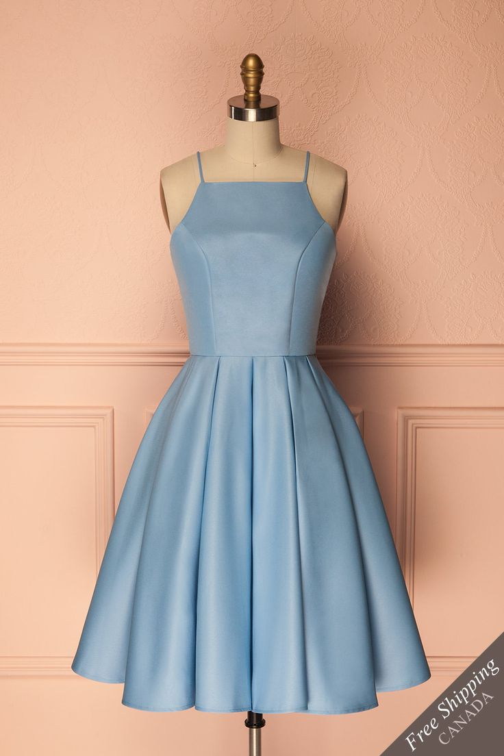 Martyn #Boutique1861 / You will appear as if coming out of Wonderland with this adorable pale blue crinoline dress. The full skirt will give you a festive and elegant look, while the straight neckline offers a more retro style. Pair it with white laced accessories for a look that is delicate and feminine!