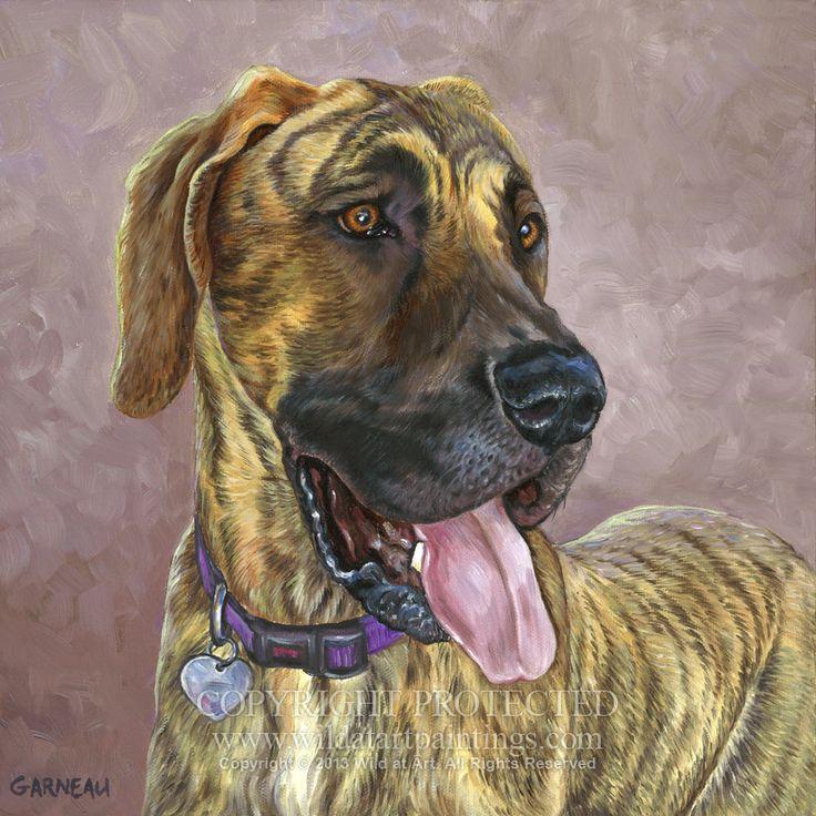 """""""Autumn,"""" Brindle Great Dane pet portrait oil painting on 12"""" x 12"""" gallery wrap…"""