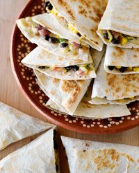 Zucchini, Corn, Black-Bean, and Jack-Cheese Quesadillas Recipe from Food & Wine - I made these with a quesadilla maker, not on the stove. They are excellent with a sauvignon blanc.