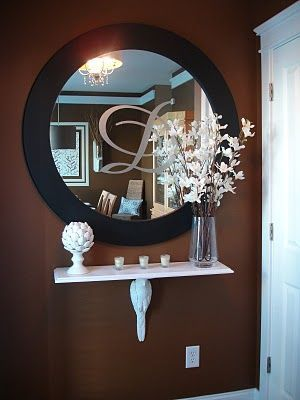 LOVE this!! I could totally etch a C into   a mirror and do this in our new living room :)