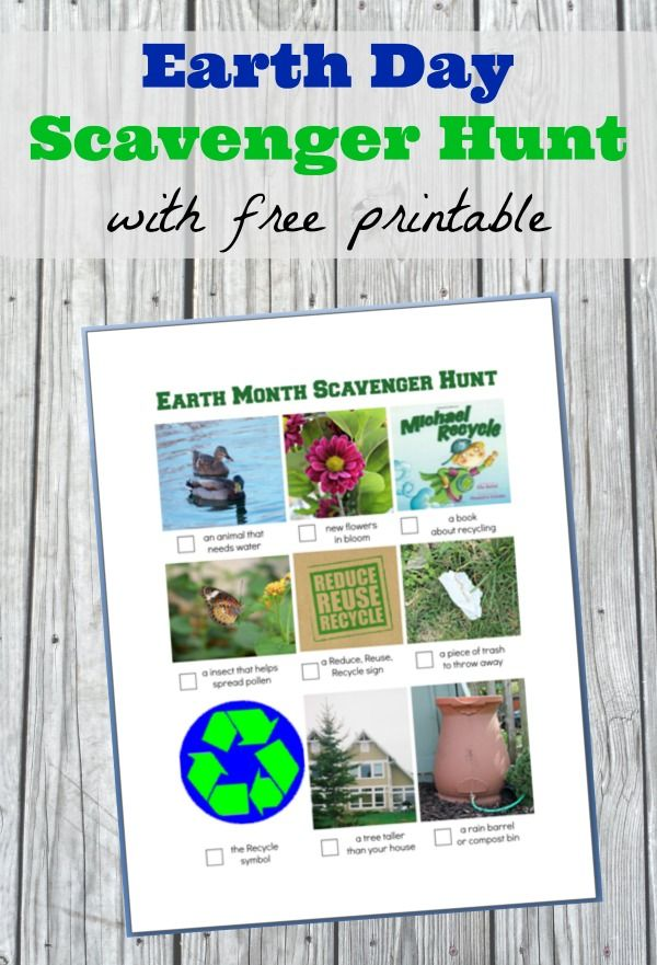 Free printable Earth Day/Month scavenger hunt for kids!  Earth Day activities perfect for home or the classroom