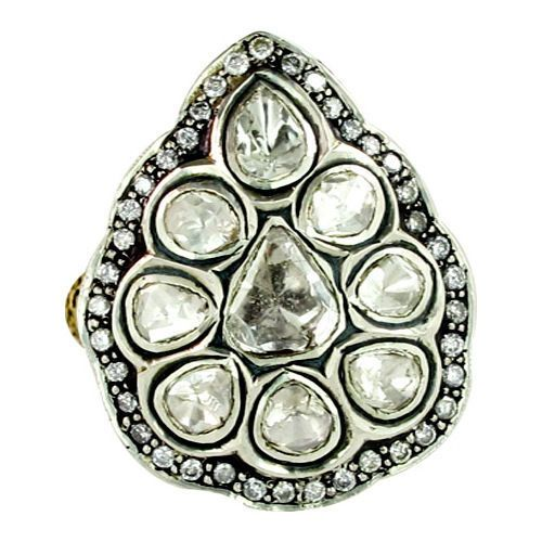 Rose Cut Diamond 14k Gold PEAR Ring 925 Sterling Silver Inspired Antique Jewelry #Handmade