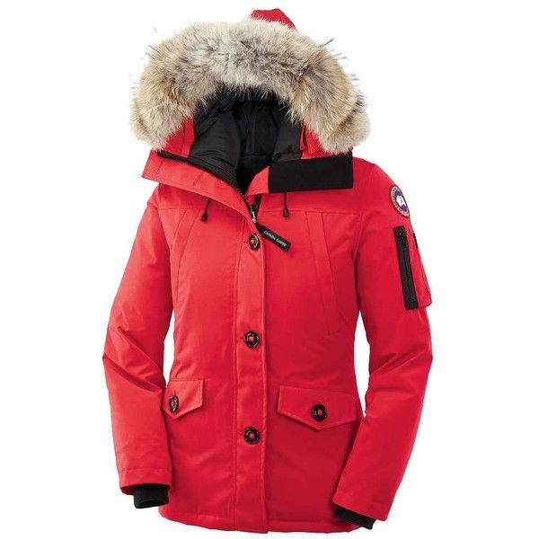 Canada Goose Women's Montebello Parka ($800) ❤ liked on Polyvore featuring outerwear, coats, torch, utility coat, red military coat, red parkas, canada goose coats and red coat