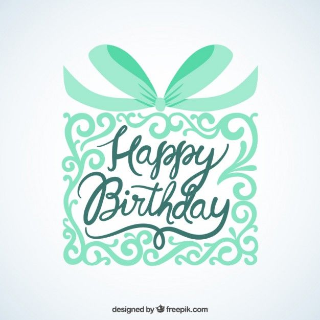 Happy birthday card with ornamental gift Free Vector