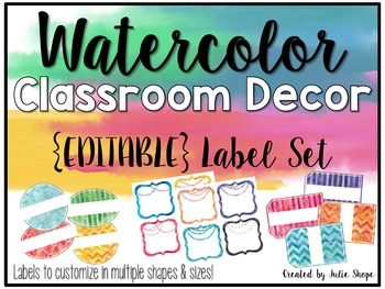 """'**** Editable WATERCOLOR LABELS ****Want to create watercolor themed labels for your classroom? Use these labels for supplies, classroom libraries, students' names, cubbies, desks...ANYTHING! The best part is that you will get to add the text to fit your classroom best!Labels come in multiple shapes and sizes - *Framed- 7""""x7"""" and 3.5""""x3.5"""" *Tags-4""""x2.75"""" With and without white."""